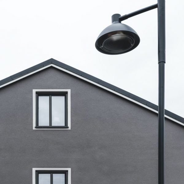 House with two windows and streetlamp